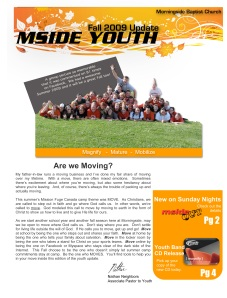 Fall 2009 Youth Newsletter Cover Pic